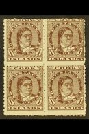 1893-1900 1d Brown Queen, SG 5, Scarce Mint Block Of Four With Large Part Gum, Some Light Paper Adherence. For More Imag - Cook Islands