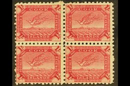 1893-1900 1s Deep Carmine Tern, SG 20a, Fine Mint Block Of Four. For More Images, Please Visit Http://www.sandafayre.co - Cook Islands