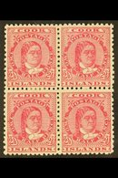 1893-1900 2½d Rose-carmine Queen, SG 8a, Scarce Mint Block Of Four With Large Part Gum, Light Paper Adherence And Few Sp - Cook Islands