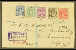 1897 (June) Highly Attractive Envelope Registered To San Francisco, Bearing Queen Makea Takau 1d, 1½d, 2½d, 5d And 19d,  - Cook Islands