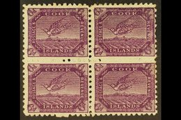 1900 6d Bright Purple Tern, SG 18a, Fine Mint Block Of Four, Incl. R1/9 Coloured Mark Below Bird. For More Images, Pleas - Cook Islands