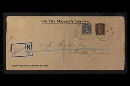 1912 (3 Oct) Registered Printed OHMS Cook Islands Administration Envelope Addressed To New Zealand, Bearing 2d & 2½d Sta - Cook Islands