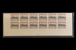 1924/7 4d Raratonga Harbour Colour Trial In Brown And Black, As SG 84, Imperf Bottom Part Sheet Of 12, On Ungummed Paper - Cook Islands