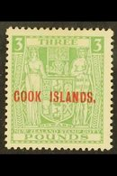 1931-32 £3 Green, SG 98a, Mint With Good Colour, Lightly Toned Gum. For More Images, Please Visit Http://www.sandafayre. - Cook Islands
