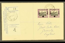 """1940 3d On 1½d Black And Purple, SG 130, Horizontal Pair On Neat 1941 """"Wells"""" Envelope Registered MAUKE To England. For  - Cook Islands"""