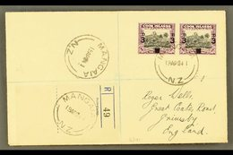 """1940 3d On 1½d Black And Purple, SG 130, Horizontal Pair On Neat 1941 """"Wells"""" Envelope Registered MANGAIA To England. Fo - Cook Islands"""