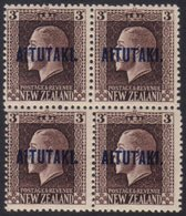 AITUTAKI 1918 3d Chocolate Mixed Perf (SG 16b) Never Hinged Mint BLOCK OF FOUR. For More Images, Please Visit Http://www - Cook Islands
