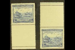 CARPATHO-UKRAINE 1939 3k Ultramarine Local Parliament (Michel 1, SG 393c), Never Hinged Mint Marginal Examples With Lowe - Czechoslovakia