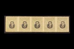 1899 1c Grey-blue & Black Torres HORIZONTAL STRIP OF 5 IMPERF VERTICALLY Variety, Scott 137a, Never Hinged Mint, One Sta - Ecuador