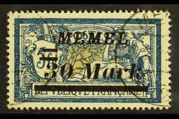 1922 30m On 5f Deep Blue & Buff Overprint With 'Oberer Teil Des Doppelbalkens Links Beschadigt' PLATE FLAW (position 69) - Memel (1920-1924)