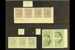 """POSTAGE DUE VARIETIES 1913-26 Zig-zag Roulette 50L Brown NHM Lower Corner Strip Of Four One Showing """"o For P"""" Variety, S - Greece"""