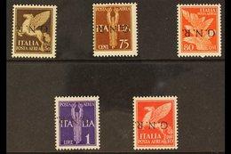 "1944 R.S.I. Air Post 50c, 75c, 80c, 1L & 10L Values Each With INVERTED ""G.N.R."" OVERPRINTS, Sassone 118a/121a & 124a, Ne - Unclassified"