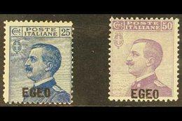 EGEO (DODECANESE ISLANDS) 1912 Overprints Complete Set (SG 1/2, Sassone 1/2), Fine Mint, Fresh. (2 Stamps) For More Imag - Italy