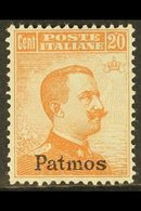"PATMOS (PATMO) 1921-22 20c Orange Watermarked ""Patmos"" Local Overprint (Sassone 11, SG 10H), Fine Mint, Very Fresh. For  - Italy"