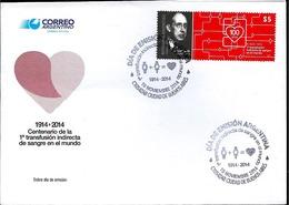 ARGENTINA ARGENTINE 2014 MEDICIN BLOOD TRANFUSION DR AGOTE  YV 3067 GJ 4074 FDC - Argentina