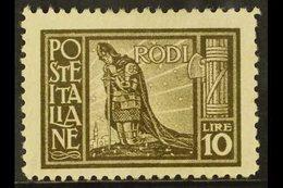 RHODES 1929 10L Olive Brown, Sass 11, Scott 23, Fine Mint (1 Stamp) For More Images, Please Visit Http://www.sandafayre. - Italy