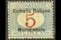 "SOMALIA POSTAGE DUE 1906 5L Magenta & Blue ""Somalia Italiana Meridionale"" Overprint (Sassone 10, SG D26), Fine Mint, Exp - Italy"
