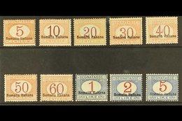 SOMALIA POSTAGE DUE 1920 Overprints At Bottom Complete Set (Sassone 23/32, SG D39/48), Fine Mint, Very Fresh & Attractiv - Italy