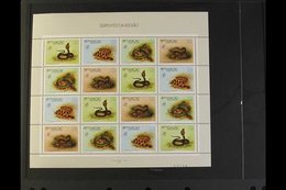 "1989 ""Philexfrance '89"" Snakes Of Macau (SG 694/97) Complete Se-tenant Sheet,very Fine Never Hinged Mint. (sheet Of 16  - Macau"