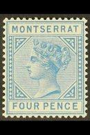 1880 4d Blue, SG 5, Superb Never Hinged Mint, Very Fresh. For More Images, Please Visit Http://www.sandafayre.com/itemde - Montserrat