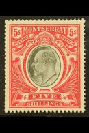 1903 KEVII 5s Black And Scarlet, Wmk Crown CC, SG 23, Very Fine Lightly Hinged Mint. For More Images, Please Visit Http: - Montserrat