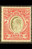 1904-08 KEVII 5s Black & Red, MCA Wmk, SG 33, Very Fine Mint For More Images, Please Visit Http://www.sandafayre.com/ite - Montserrat