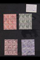 1930 Child Welfare Set With Interrupted Perfs (SG 388B/91B, NVPH R86/89, Mi 236D/39D), In Very Fine Used BLOCKS OF NINE  - Netherlands