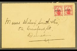 1921 (Feb) Neat Envelope To New Zealand, Bearing 1d Carmine Pair, SG 24, Tied Niue Cds. For More Images, Please Visit Ht - Niue