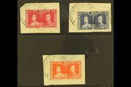 """1937 1d, 2½d, And 6d Coronation Complete Set Of New Zealand, Each On Piece Tied By Fine Near Complete """"PITCAIRN ISLAND""""  - Stamps"""