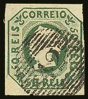 1853 50r Yellow-green, SG 6 (Michel 3a), Very Fine Used With 4 Clear To Large Margins, Strong Original Colour & Crisp Em - Portugal