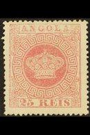 ANGOLA 1875 25r Rose-carmine, Perf.14, Afinsa 4, SG 24, Mint No Gum, 2012 Dias Photo Certificate Accompanies. Scarce, Ca - Colonies & Territories – Unclassified