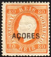 AZORES 1875 80r Orange, Perf 13½, Afinsa 21, Fresh Mint. With Photo Certificate International Society For Portuguese Phi - Colonies & Territories – Unclassified