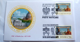 VATICAN 2019, 100TH ANNIVERSARY RELATIONSHIP WITH POLAND, JOINT FDC - Vatican