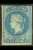 1856 6d Blue Imperforate, Large Star Wmk, SG 1, 3+margins Just Touching The Frame Line At The Top, Mint With Large Part - Saint Helena Island