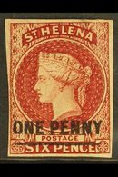 1863 One Penny On 6d Lake (type A) Imperforate, SG 3, Four Clear Margins, Very Fine Mint With Large Part OG. For More Im - Saint Helena Island