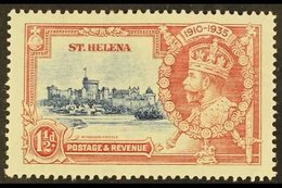 """1935 JUBILEE VARIETY 1½d Deep Blue & Carmine Bearing """"Diagonal Line By Turret"""" Variety, SG 124f, Mint Slightly Faded For - Saint Helena Island"""