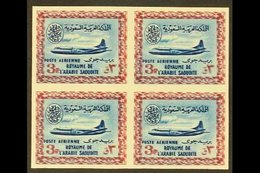 """1961 3p Blue And Pale Claret Air, Vickers Viscount, Imperf Block Of 4, Variety """"frame Printed Double"""", As SG 430var (unl - Saudi Arabia"""