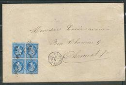 FRANCE 1862 N° 22 Bloc De 4 (def.) S/Lettre Entière  Obl. GC 3571 Saint Dier D'Auvergne - 1862 Napoleon III