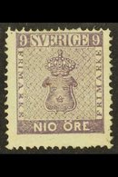 1858 9ore Purple, SG 7, Mint, Centred High But Not Perfed Into Design And Some Slight Gum Adherence. Cat SG £450 For Mor - Sweden