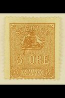 """1862-66 3o Brown Lion Type II With COLOURED LINE FROM LION TO LARGE """"3"""" Variety, Facit 14Bv4, Unused No Gum, Thin, Very  - Sweden"""