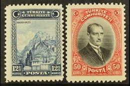 """1929 (first """"U"""" Of """"CUMHURIYETI"""" Without Umlaut) 12½k And 50k, Mi 889/90, Fine Mint, Very Lightly Hinged. (2 Stamps) For - Unclassified"""
