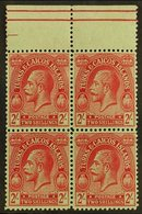 1922-26 2s Red On Emerald Wmk MCA, SG 174, Superb Never Hinged Mint Upper Marginal BLOCK Of 4, Very Fresh. (4 Stamps) Fo - Turks And Caicos