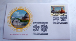 VATICAN 2019, 100TH ANNIVERSARY RELATIONSHIP WITH POLAND, 2 JOINT FDC - Vatican