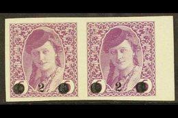 "ISSUES FOR BOSNIA 1919 ""2"" On 6h Mauve Surcharge (Michel 27, SG 50), Mint Marginal Horizontal PAIR, Fresh, Minor Ripples - Yugoslavia"