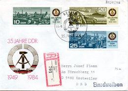 """DDR Schmuck-FDC Mi 2893/95 """"35 Jahre Deutsche Demokratische Republik (II)"""", ESSt BERLIN, 11.9.1984 - [6] République Démocratique"""