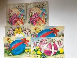Lot De 6 Cartes Postales Anciennes  Joyeuses Pâques (Oeufs Décorés) - Pâques