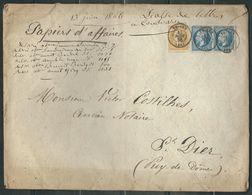 FRANCE 1866 N° 22 Paire (def.) & 21 S/Lettre Entière  Papiers D'affaires Obl. C à D  Thiers - 1862 Napoleon III