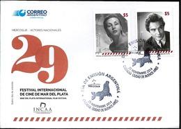 ARGENTINA ARGENTINE 2014 ART THEATHER ACTORS YV 3068-9 GJ 4076-77 FDC - Argentina