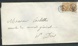 FRANCE 1863 N° 21 X 2 S/Lettre Entière   Obl. C à D  Riom - 1862 Napoleon III