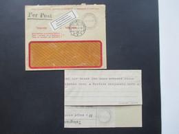 Schweiz 1947 Telegramm Im Umschlag Rapperswil Brieftelegram Und Schwarzer Stempel Per Post Aus Wien - Briefe U. Dokumente